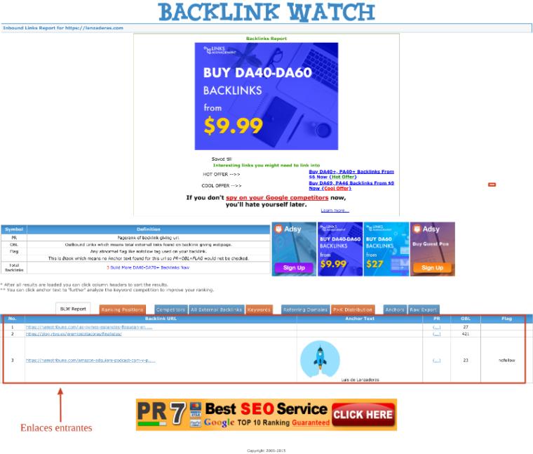 Resultados de búsqueda de enlaces entrantes de BackLink Watch