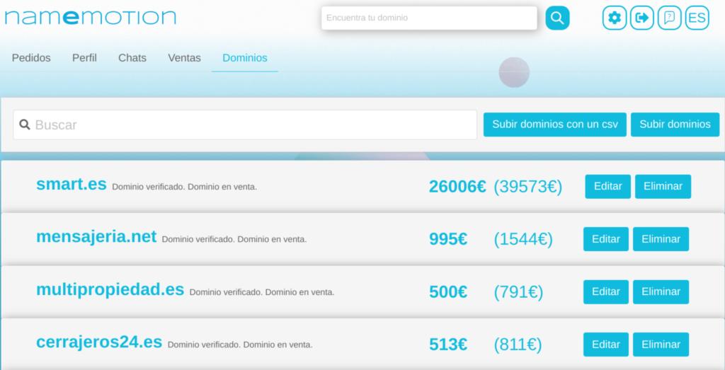 Listado de dominios en el panel de control de Namemotion