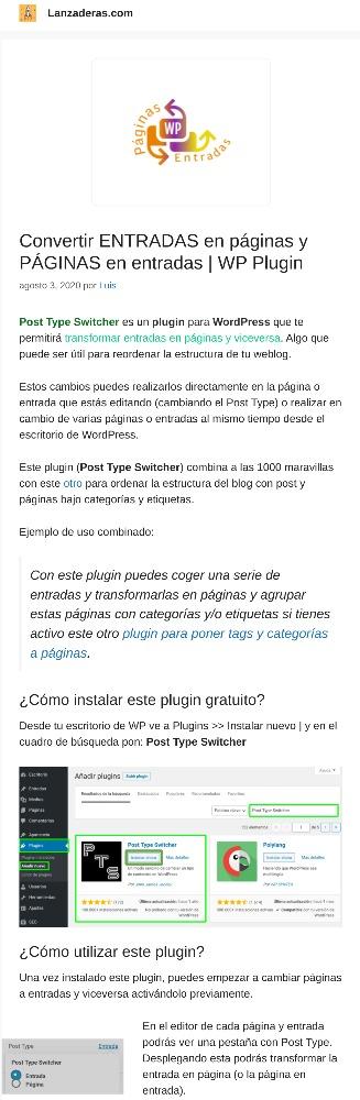 Captura del post: convertir entradas en páginas y páginas en entradas | WP Plugin