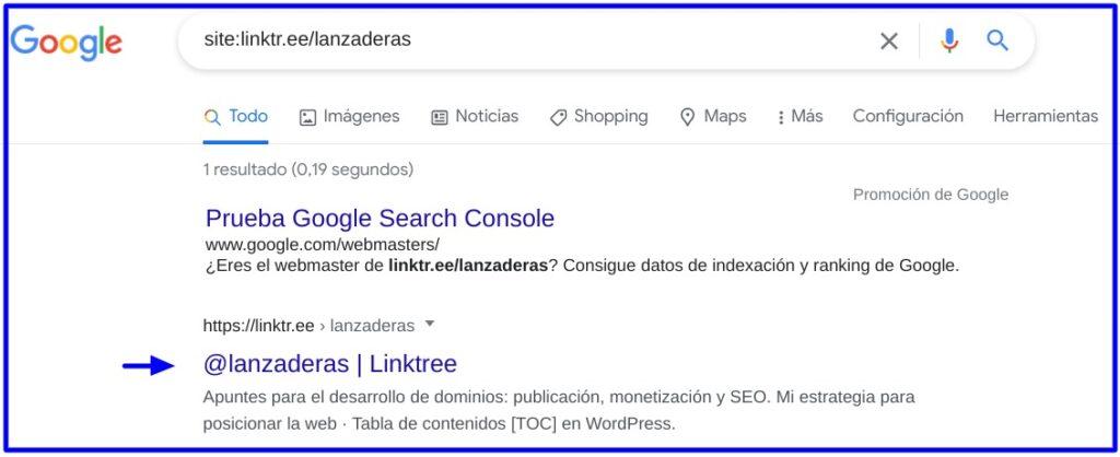 Página linktr.ee/lanzaderas indexada en Google