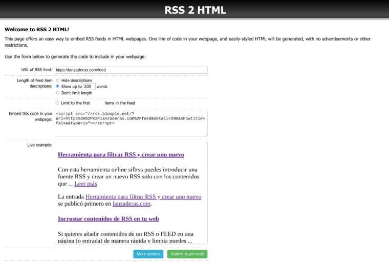 RSS 2 HTML para hacer un contenido incrustable a partir de una fuente RSS o FEED