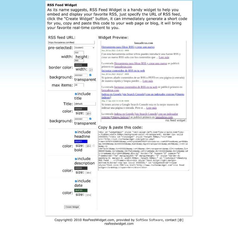 RSS Feed Widget | captura de pantalla