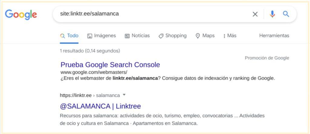 Indexación en Google de linktr.ee/salamanca con Omega Indexer