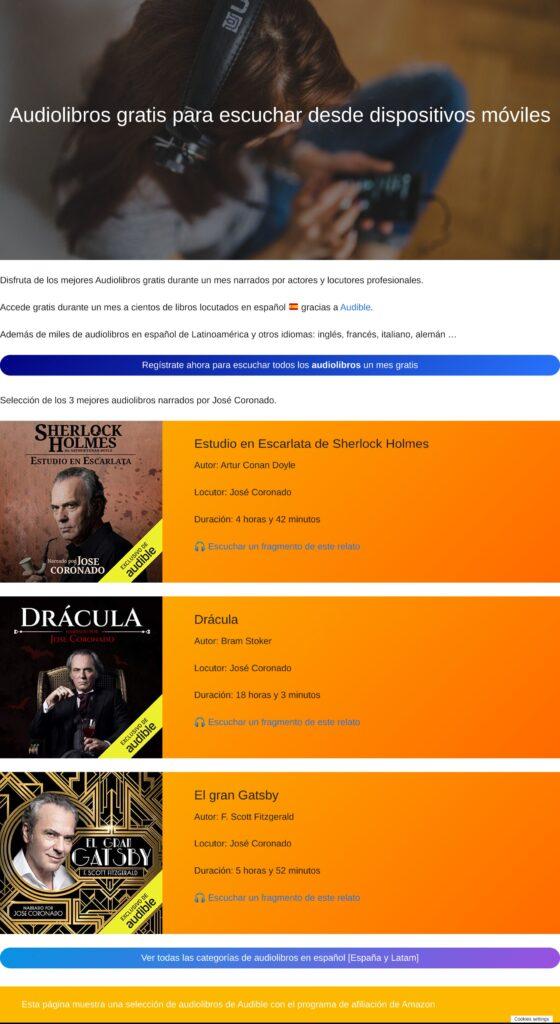Captura de landin page para promocionar audiolibros de Audible