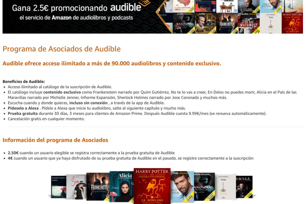 Captura del programa de afiliación de Audible en Amazon España