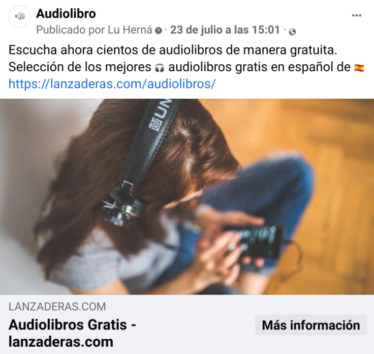 Anuncio en Facebook ADS para enviar tráfico a la landing page de audiolibros de Audible